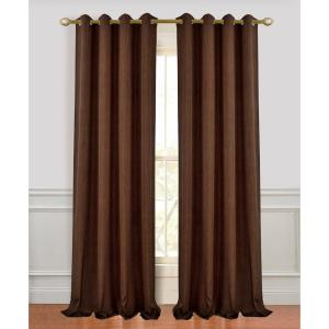 Madison 96 inch L Polyester Extra Long and Wide Linen Look Window Curtain Panel Pair in Chocolate (2-Pack) by