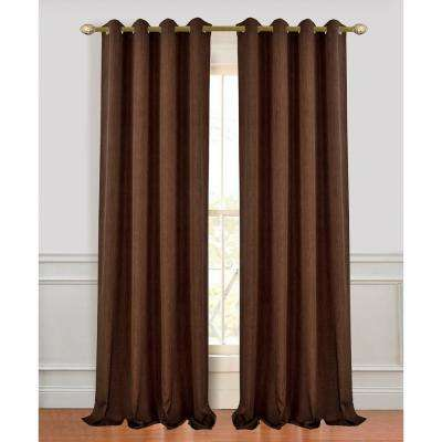 Madison 96 in. L Polyester Extra Long and Wide Linen Look Window Curtain Panel Pair in Chocolate (2-Pack)