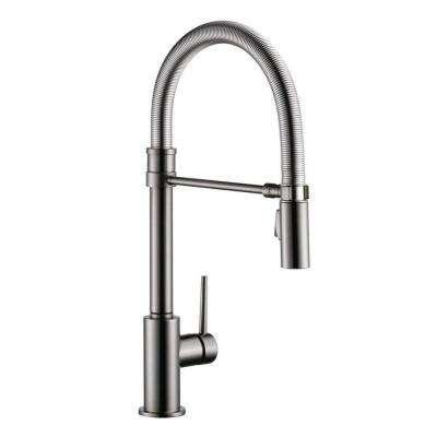 Trinsic Pro Single-Handle Pull-Down Sprayer Kitchen Faucet with Spring Spout in Black Stainless