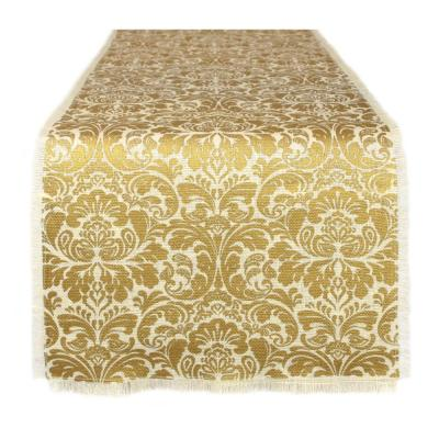 14 in. x 72 in. Gold Damask Print Jute Table Runner