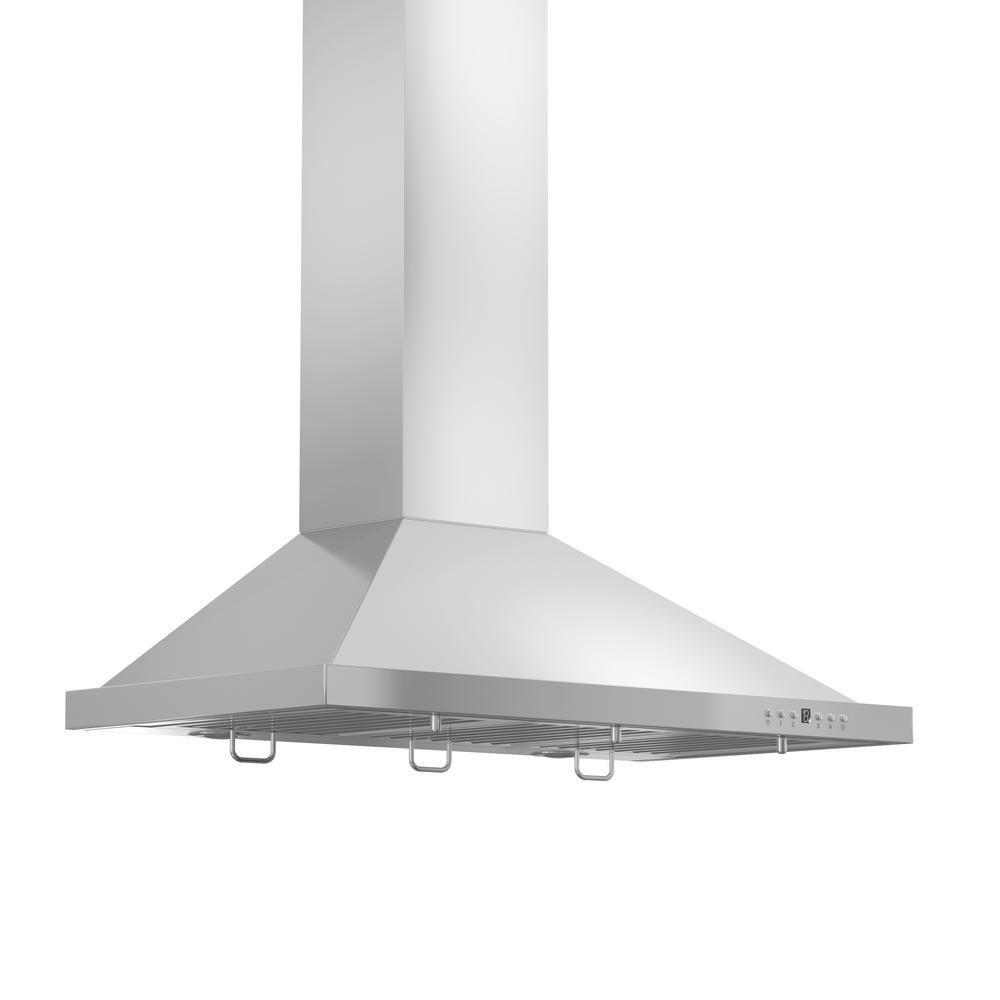 Zline Kitchen And Bath Zline 42 In. 760 Cfm Wall Mount Range Hood In Stainless Steel With Crown Molding, Brushed Stainless Steel