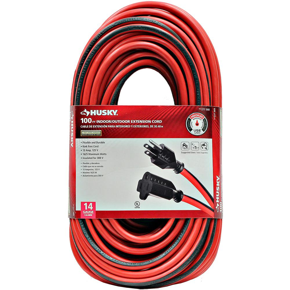 Husky 100 ft. 14/3 Indoor/Outdoor Extension Cord, Red and Black ...