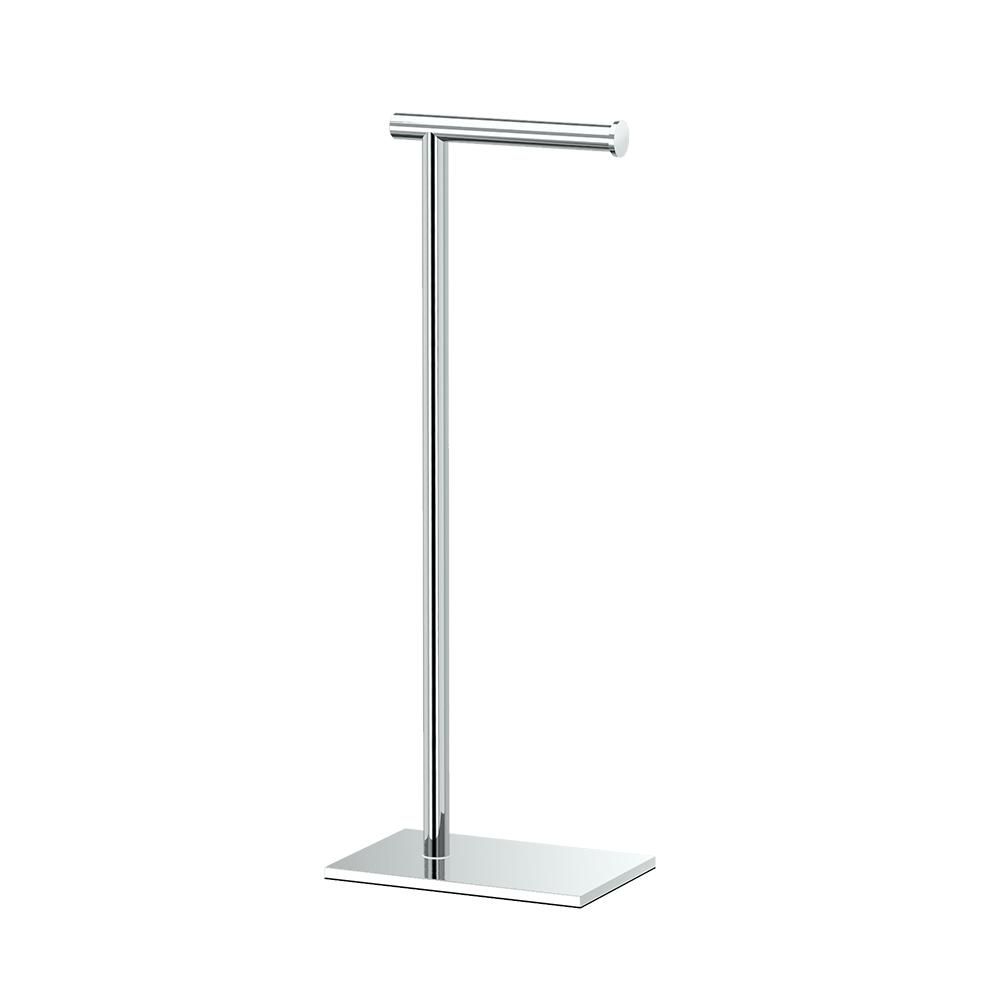 Gatco Latitude Ii Square Free Standing Toilet Paper Holder In Chrome 1431c The Home Depot