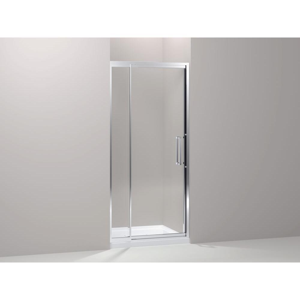 KOHLER Lattis 26 in. x 73 in. Pivot Shower Door in Bright Silver with Handle