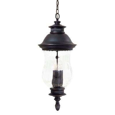Newport 4-Light Heritage Outdoor Pendant with Optic Mouth Blown Glass