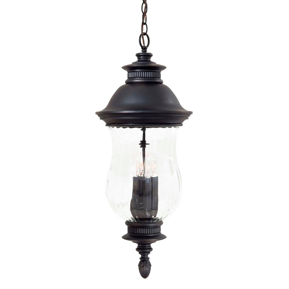 The Great Outdoors By Minka Lavery Newport 4 Light Heritage Outdoor Pendant With Optic Mouth Blown Glass