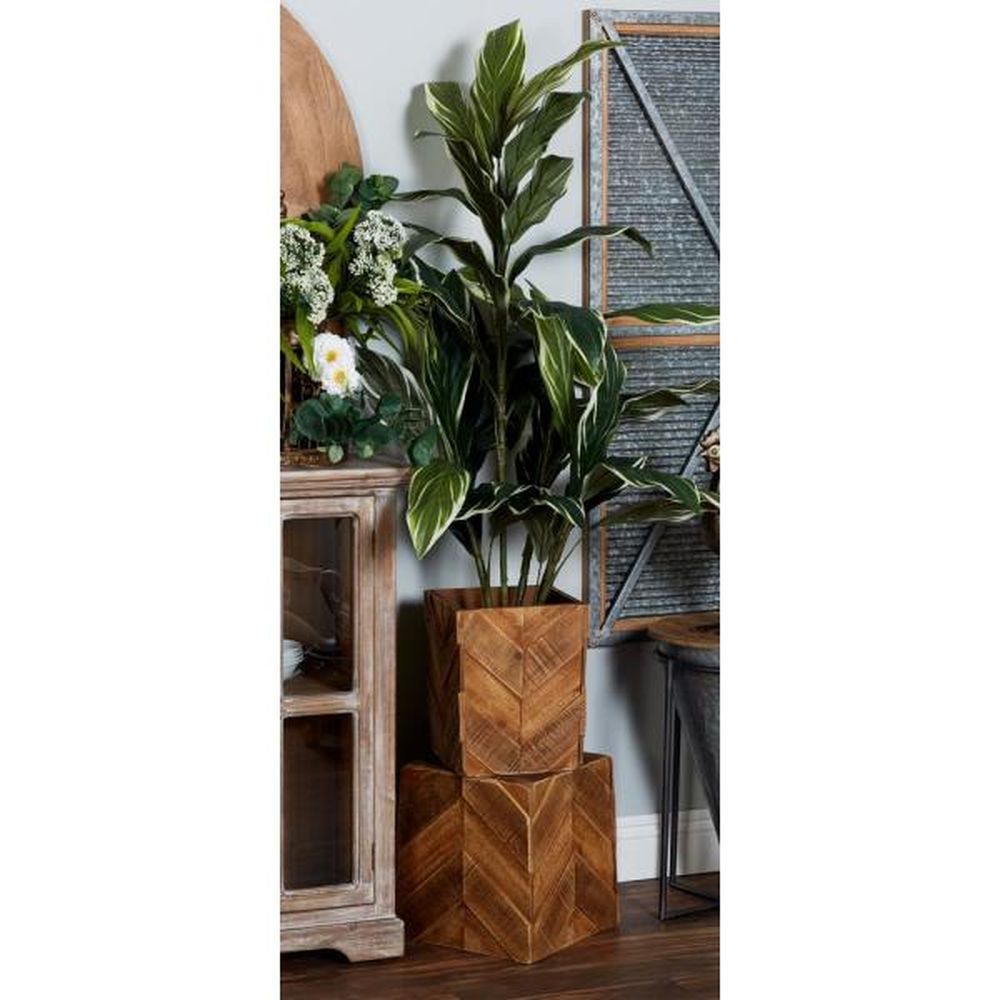Litton Lane Brown Wooden Planters (Set of 3)