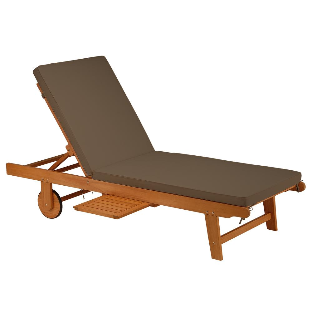 National Outdoor Living Fsc Eucalyptus Grandis Wood Outdoor Sun Lounger With Chocolate Cushions And Polyester Pads Ki44 Fscsl7225c The Home Depot
