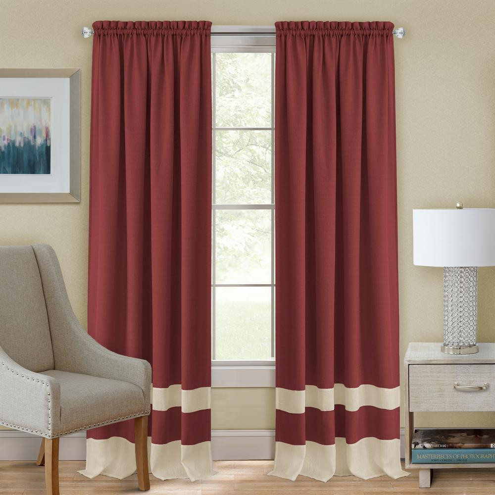 Darcy Marsala/Tan Polyester Rod Pocket Curtain 52 in. W x 84