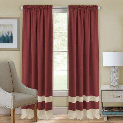 Darcy Marsala/Tan Polyester Rod Pocket Curtain 52 in. W x 84 in. L