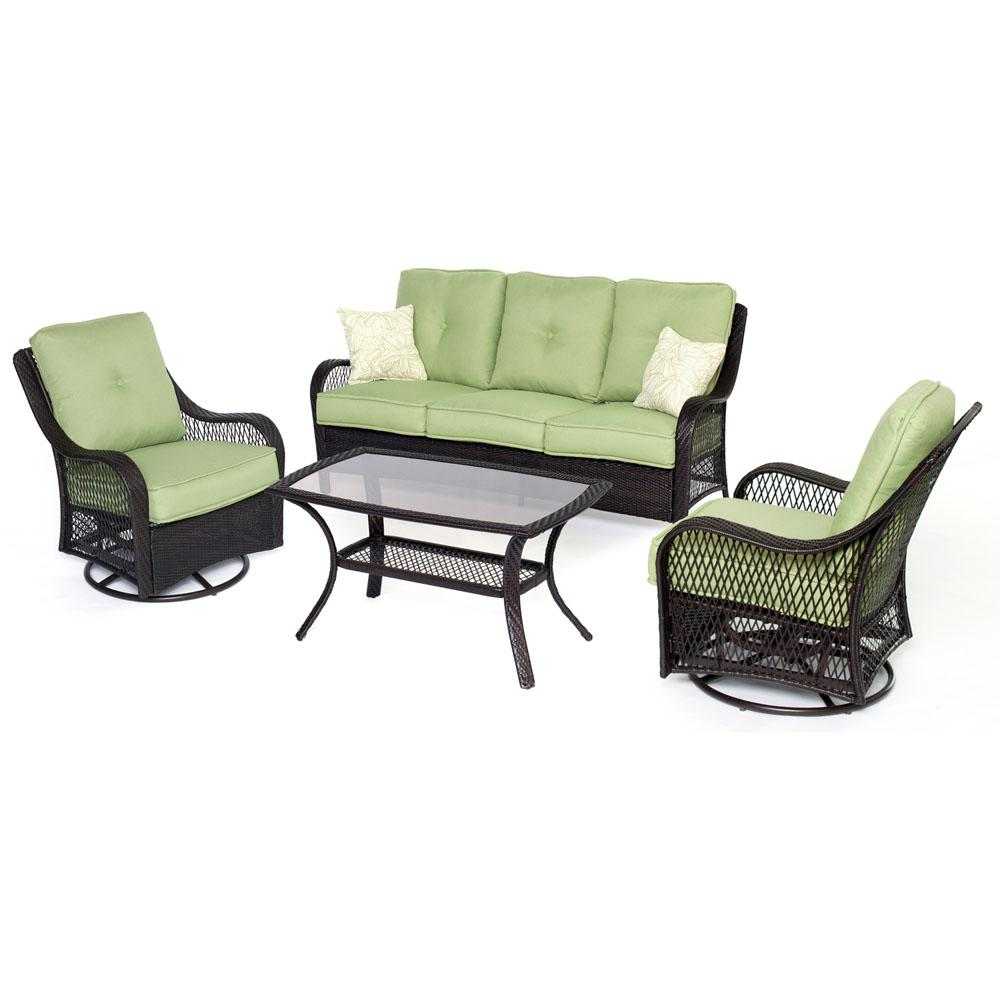 Orleans 4 piece aluminum patio seating set with avocado cushions