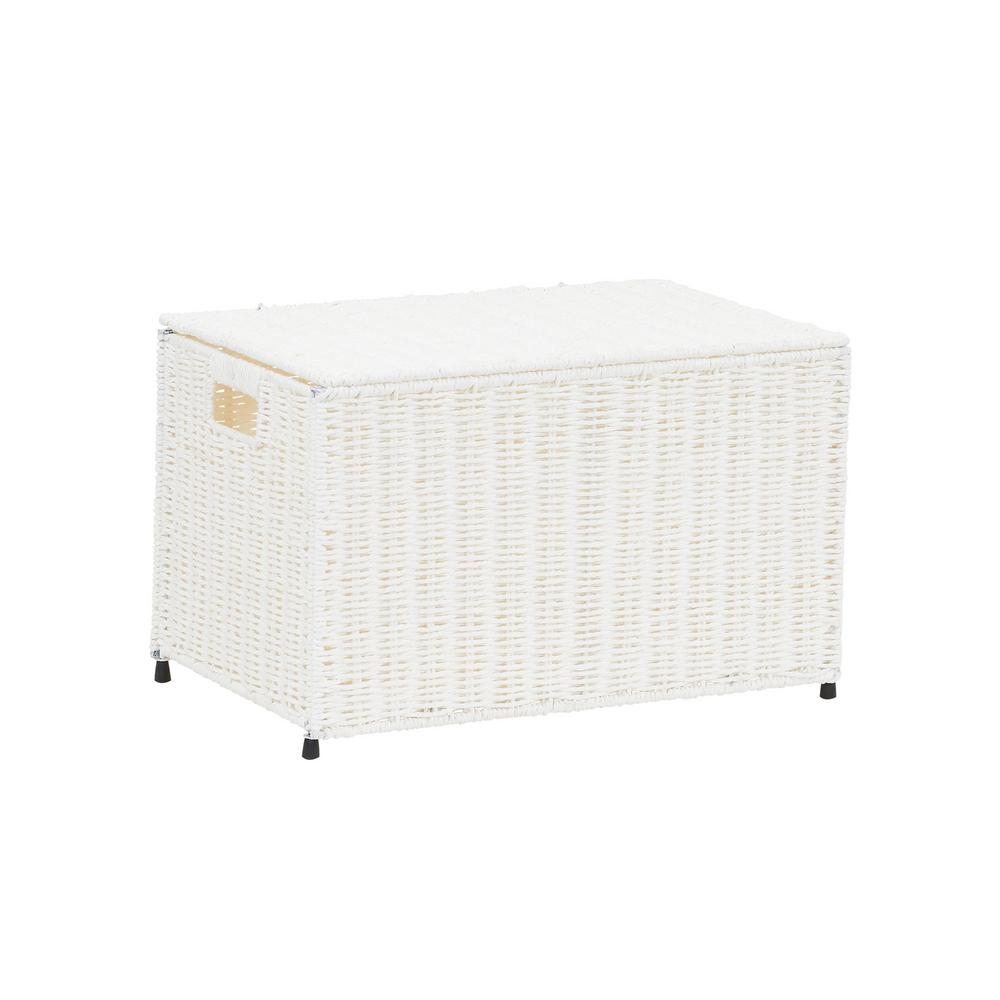 Household Essentials Arctic White Small Wicker Storage Chest, Paper Rope
