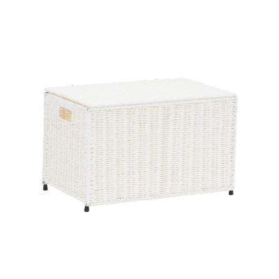 Arctic White Small Wicker Storage Chest, Paper Rope