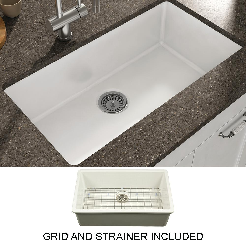 Empire Industries Yorkshire Undermount Fireclay 31.5 in. Single Bowl  Kitchen Sink with Grid and Strainer in White