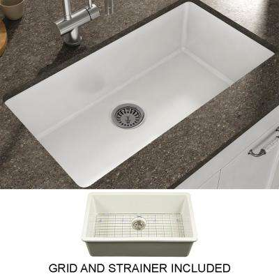 Yorkshire Undermount Fireclay 31.5 in. Single Bowl Kitchen Sink with Grid and Strainer in White