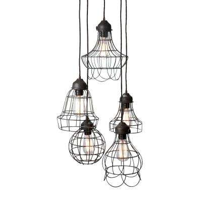 Wire 5-Light Brown Pendant