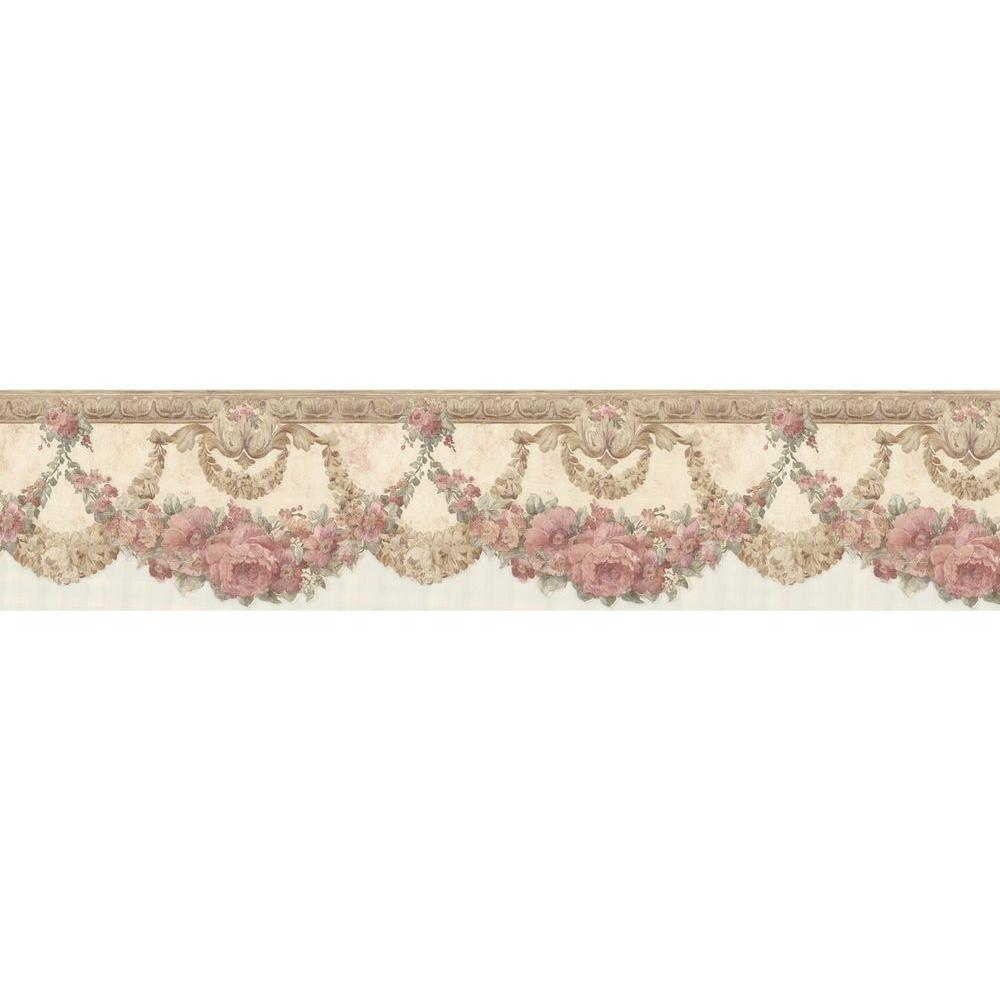Mirage marianne salmon floral bough wallpaper border for Wallpaper borders for your home