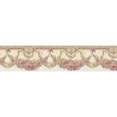 Marianne Salmon Floral Bough Wallpaper Border Sample