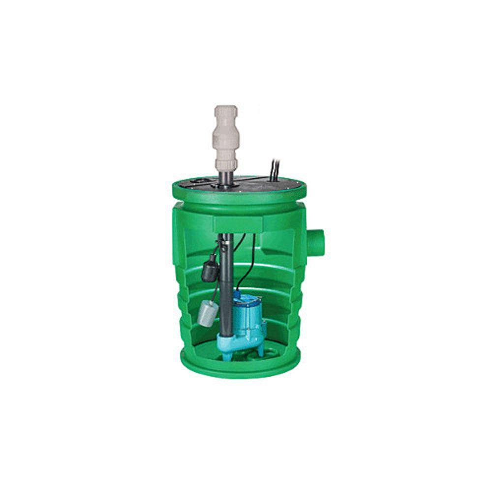 Little Giant Pit Plus 0.5 HP Bolt-On Flanges/1-Piece Structural Foam Cover Sewer Package Pump System