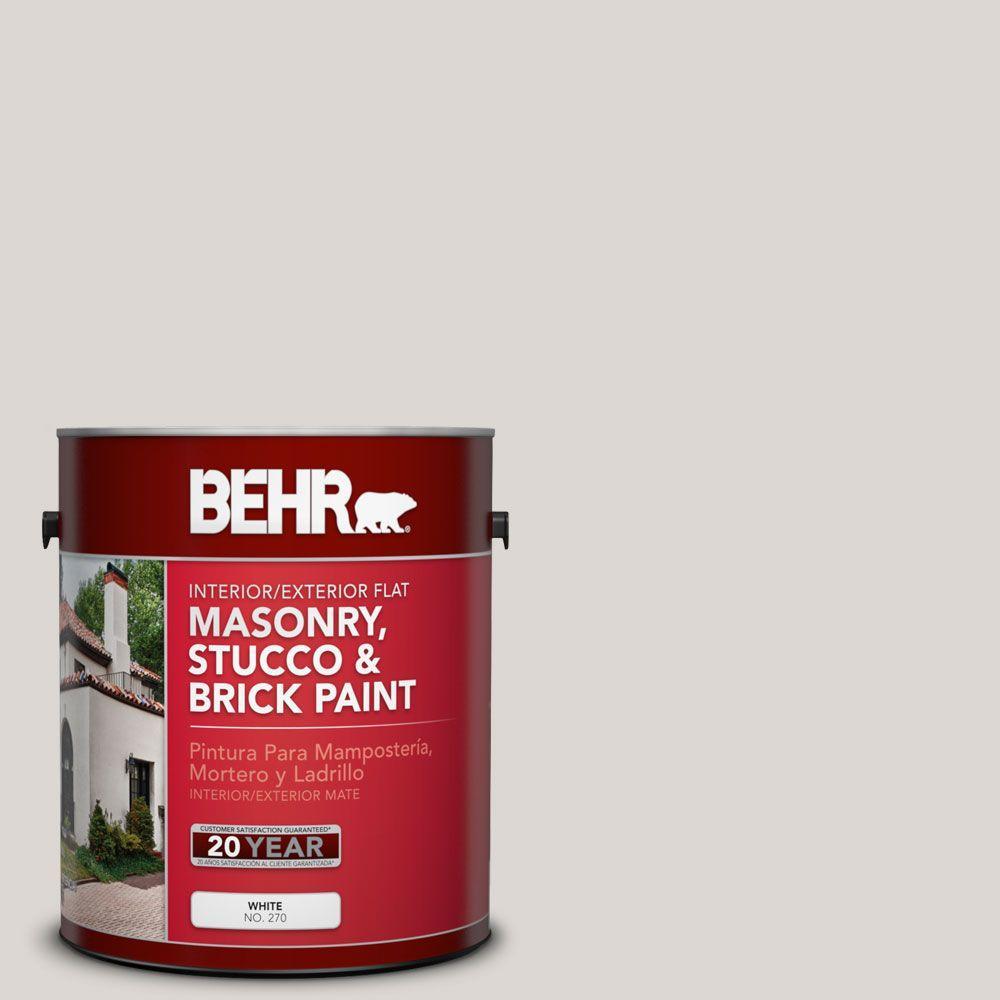 1 gal. #MS-88 Pearl Gray Flat Interior/Exterior Masonry, Stucco and Brick Paint