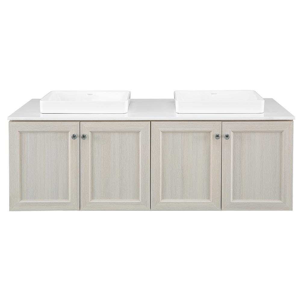 Home Decorators Collection Brunfield 61 in. W x 22 in. D Vanity Cabinet in Light Grey with Engineered Stone Vanity Top in White with White Sinks