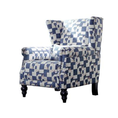 Geometric Polyester Nailhead Trim Wingback Chair