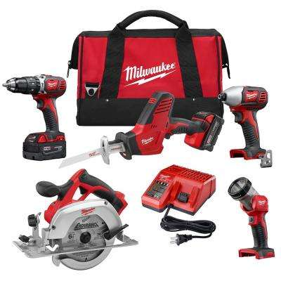 M18 18-Volt Lithium-Ion Cordless Combo Tool Kit (5-Tool) with Two 3.0Ah Batteries, One Charger, One Tool Bag