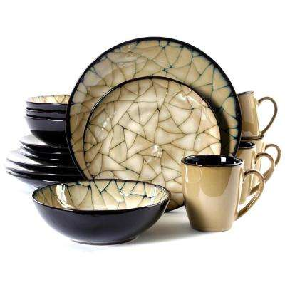 Zambezi 16-Piece Black and Cream Dinnerware Set