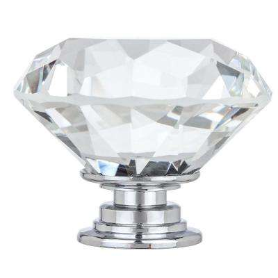 Kingsman Crystal Series 1-5/8 in. (41 mm) Dia Clear K9 Crystal with Chrome Base Cabinet Knob (10-Pack)