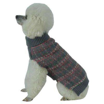 X-Small Grey and Pink and White Vintage Symphony Static Fashion Knitted Dog Sweater