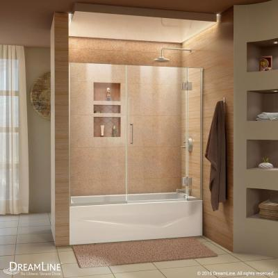 Unidoor-X 58-58.5 in. x 58 in. Frameless Hinged Tub Door in Brushed Nickel