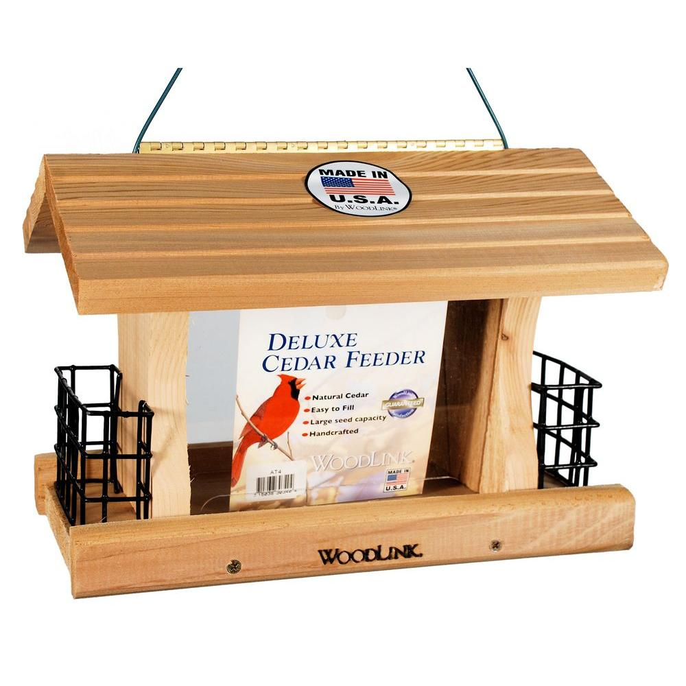 Deluxe Cedar Feeder with Suet Cages Bird Feeder, Brown