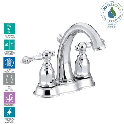 Kelston 4 in. Centerset 2-Handle Low-Arc Water-Saving Bathroom Faucet in Polished Chrome