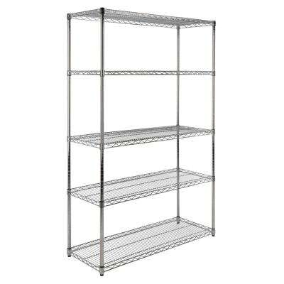 Charlotte 72.8 in. 5-Shelf Wire Rack, Chrome