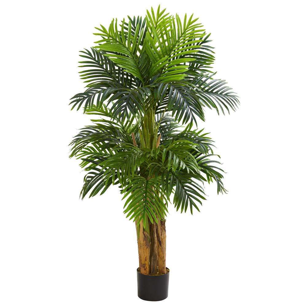 nearly natural indoor 5 ft triple areca palm artificial tree 5536