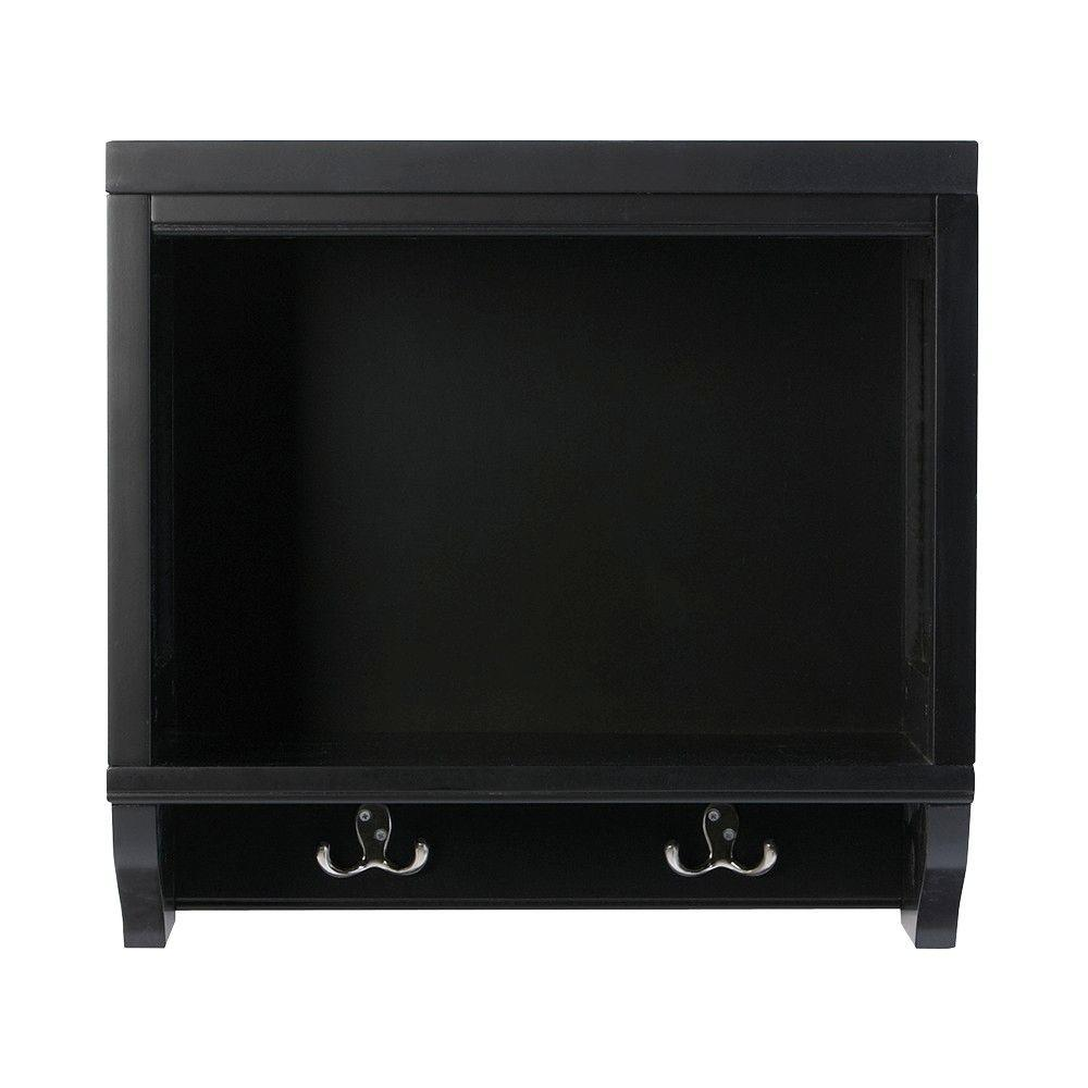 Martha Stewart Living Mudroom 20 in. L Worn Black Wood Open Wall Storage Shelf with Hooks
