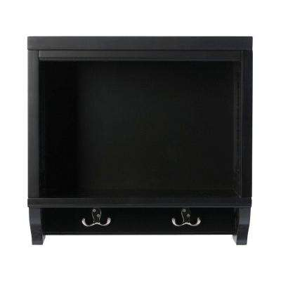 Mudroom 20 in. L Worn Black Wood Open Wall Storage Shelf with Hooks