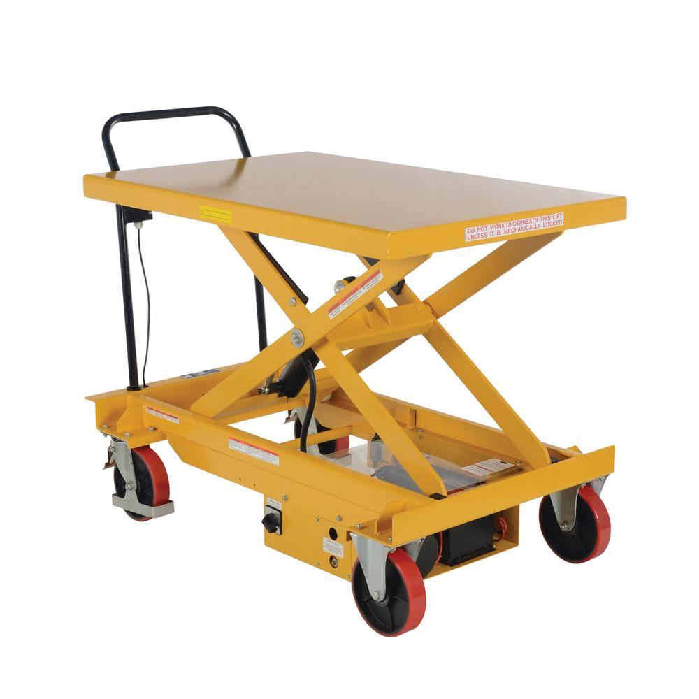 Vestil 1,000 lb  31 5 x 47 15 in  Dc Powered Hydraulic Scissor Cart