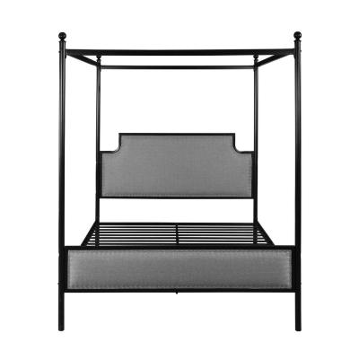 Beechmont Grey and Flat Black Queen Bed Frame with Canopy