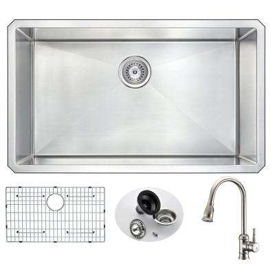 VANGUARD Undermount Stainless Steel 32 in. 0-Hole Single Bowl Kitchen Sink with Sails Faucet in Brushed Nickel