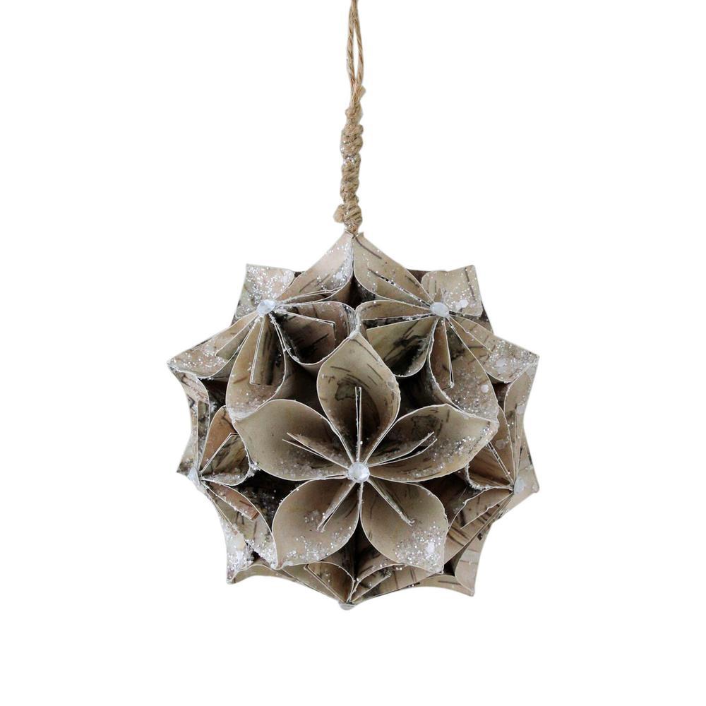 4.5 in. Glittered Wood Grain Flower Ball Christmas Ornament