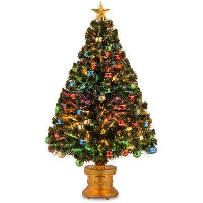 4 ft. Fiber Optic Fireworks Artificial Christmas Tree with Ball Ornaments
