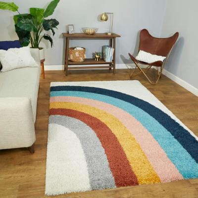 Amelia Rainbow Shag White 4 ft. x 6 ft. Area Rug