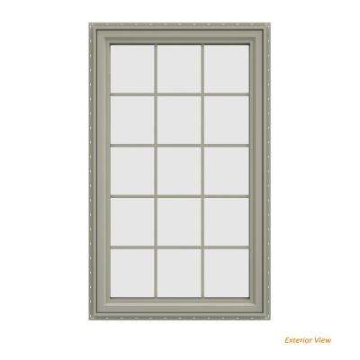 35.5 in. x 59.5 in. V-4500 Series Desert Sand Painted Vinyl Left-Handed Casement Window with Colonial Grids/Grilles