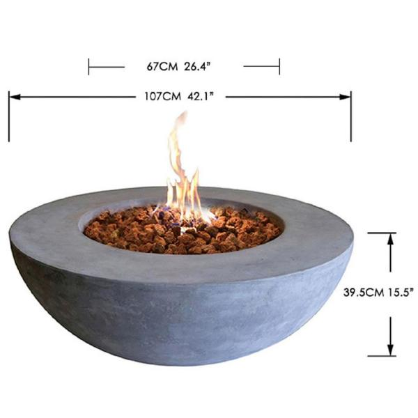 Elementi Lunar 42 In X 16 In Round Concrete Stainless Steel Propane Burner Fire Pit Bowl With Lava Rock Ofg101 Lp The Home Depot