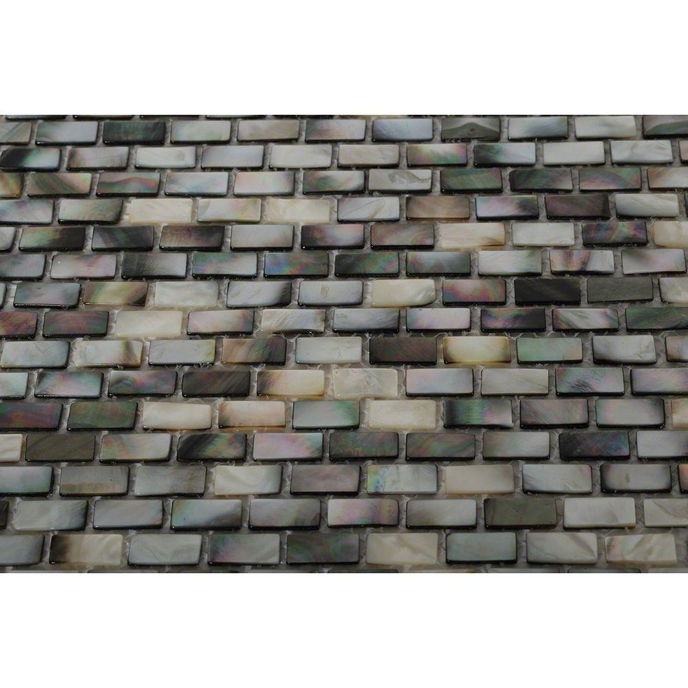 Splashback Tile Mother of Pearl Deep Ocean Gray Mini Brick Pearl ...
