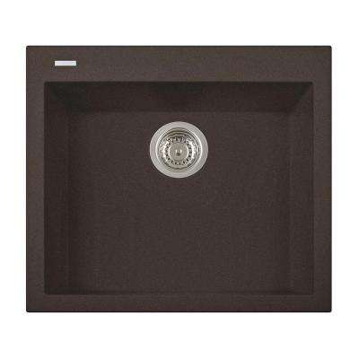 One Drop-in Granite Composite 20 in. 1-Hole Single Bowl Kitchen Sink in Brown