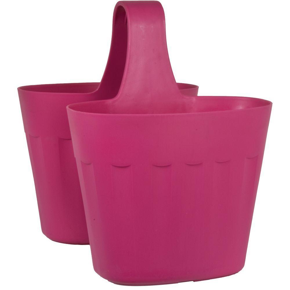 Mela 15 in. Pink Plastic Saddlebag Rail Planter