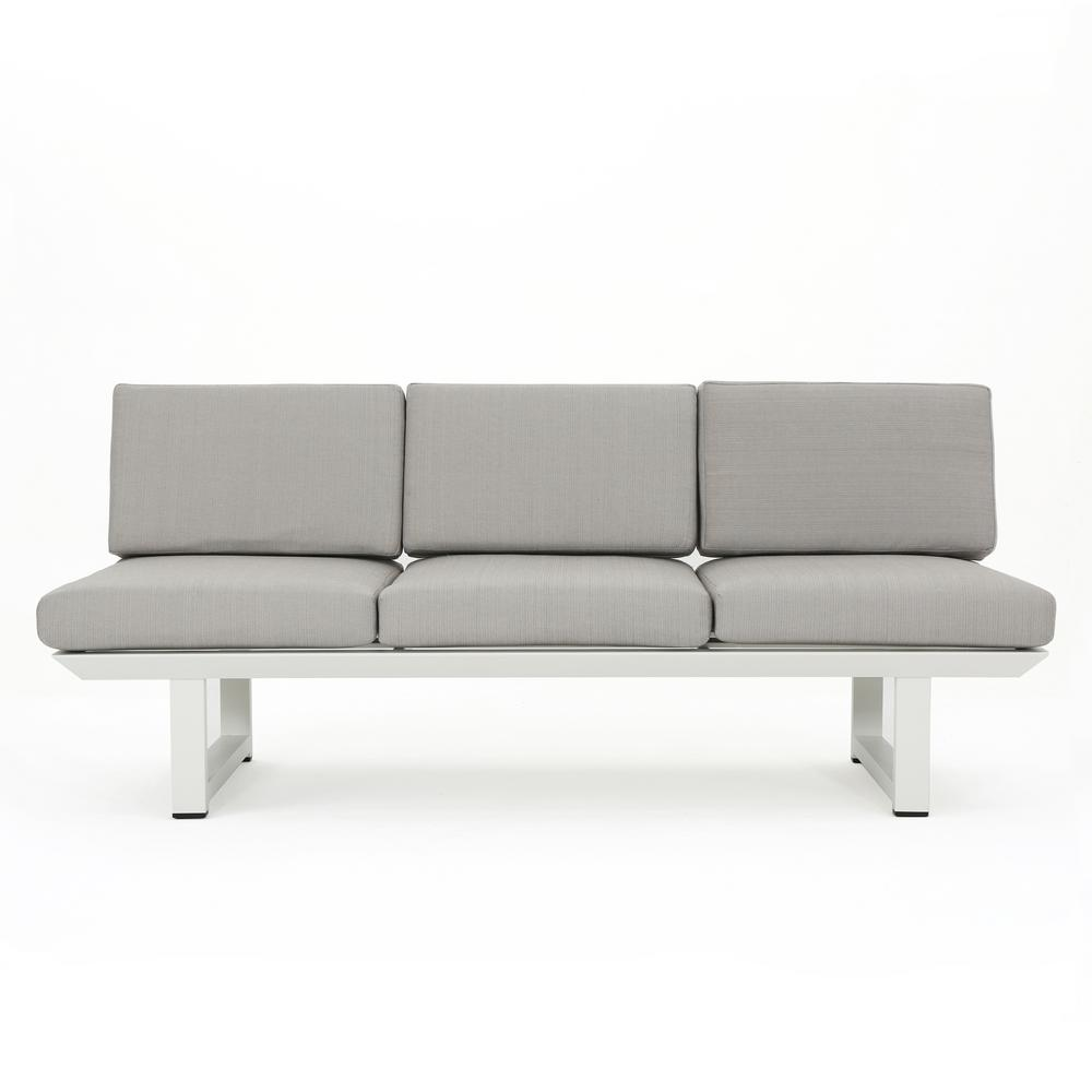 Noble House Bronte White Metal Outdoor Sofa With Grey