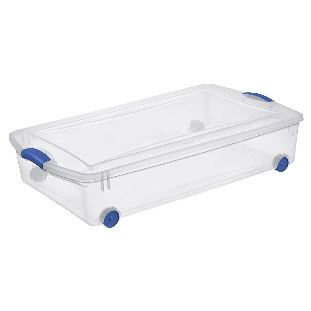 Sterilite 50 Qt Wheeled Latch Storage Box 4 Pack